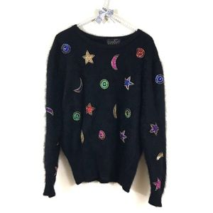 Classiques Celestial Star Moon Fuzzy Sweater